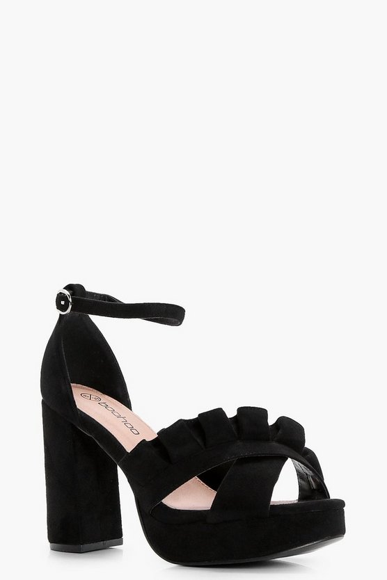 Wide Fit Frill Cross Strap Platform Heels