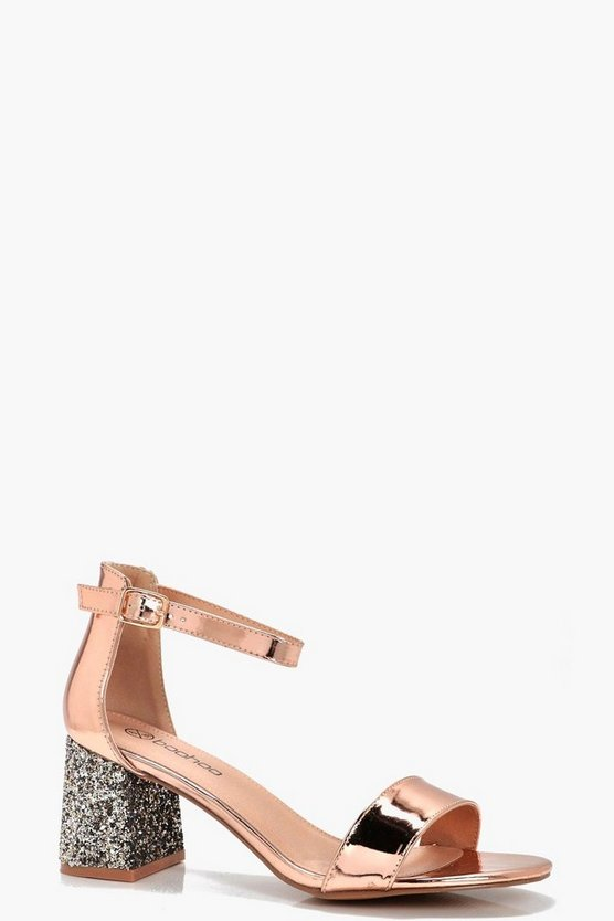 Edie Wide Fit Glitter 2 Part Block Heels