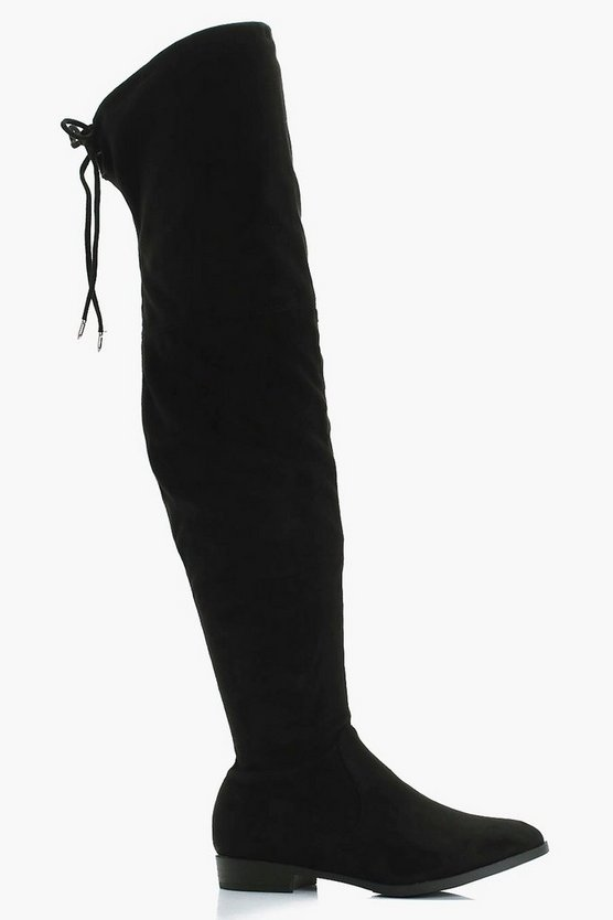 Alicia Wide Fit Flat Suedette Over the Knee Boots