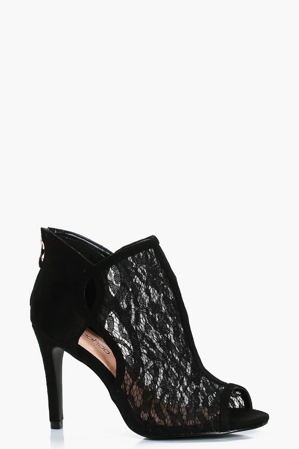 5cd93e6cd3d3 Wide Fit Peeptoe Lace Shoe Boots