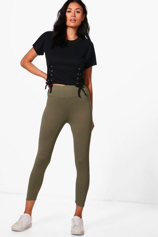 Cropped Basic High Waist Leggings