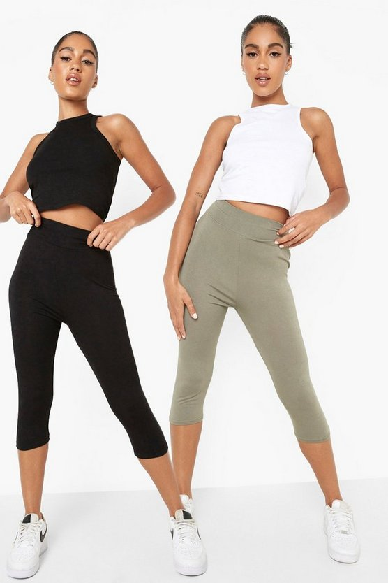 Khaki 2 Pack Basic Cropped 3/4 High Waist Leggings