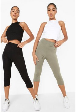 Womens Khaki 2 Pack Basic Cropped 3/4 High Waist Leggings