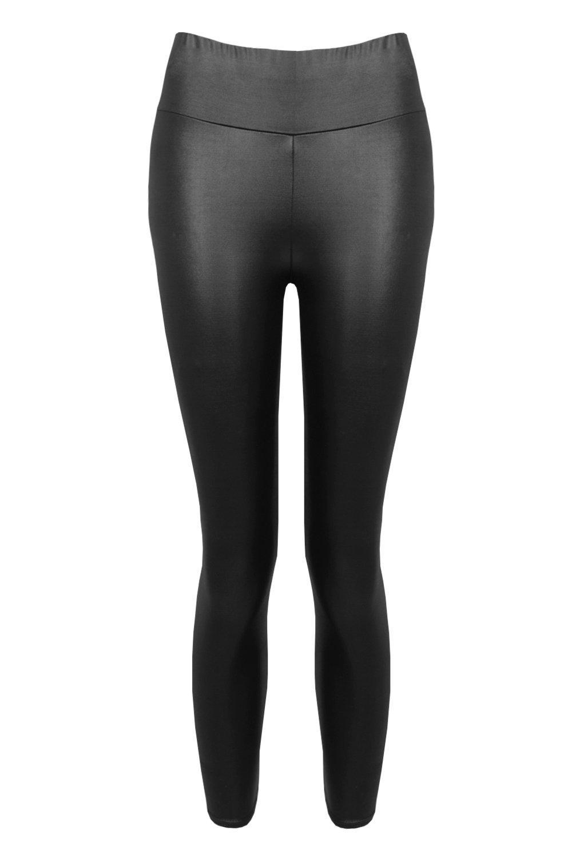 black Wet Leggings Look High Waist Cropped ORT8v6v