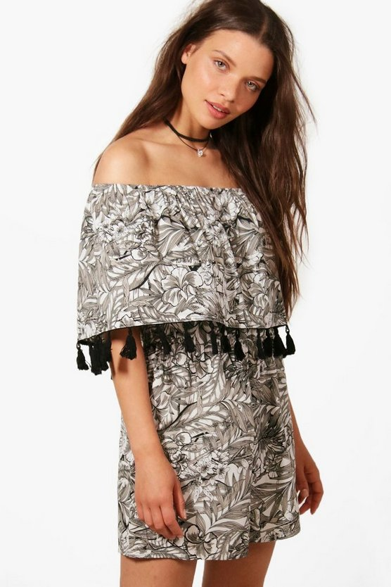 Bandeau Printed Tassel Trim Playsuit
