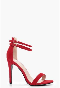 Double Ankle Band 2 Part Heels, Tomato, Donna