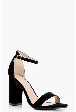 Womens Black Block 2 Part Heels