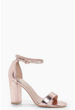 Womens Rose gold Metallic Block Heels
