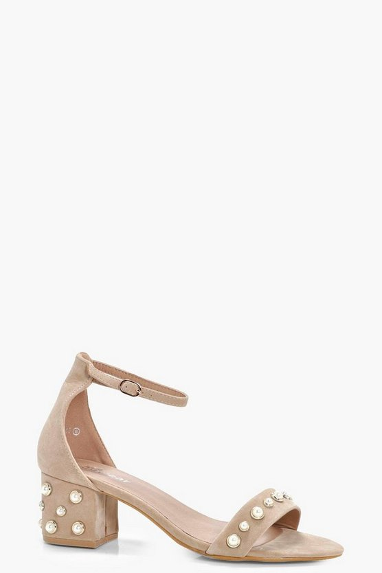 Rebecca Pearl Detail Low Block Heel