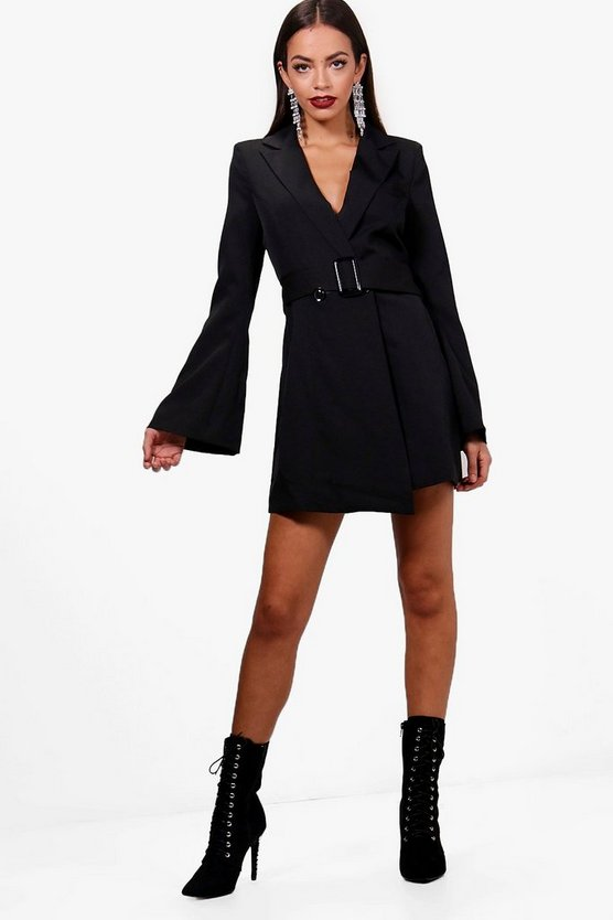 Boutique Flared Sleeve Belted Blazer Dress
