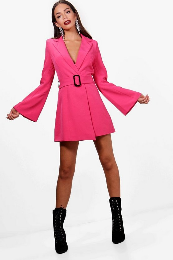 Boutique Amy Flared Sleeve Belted Blazer Dress