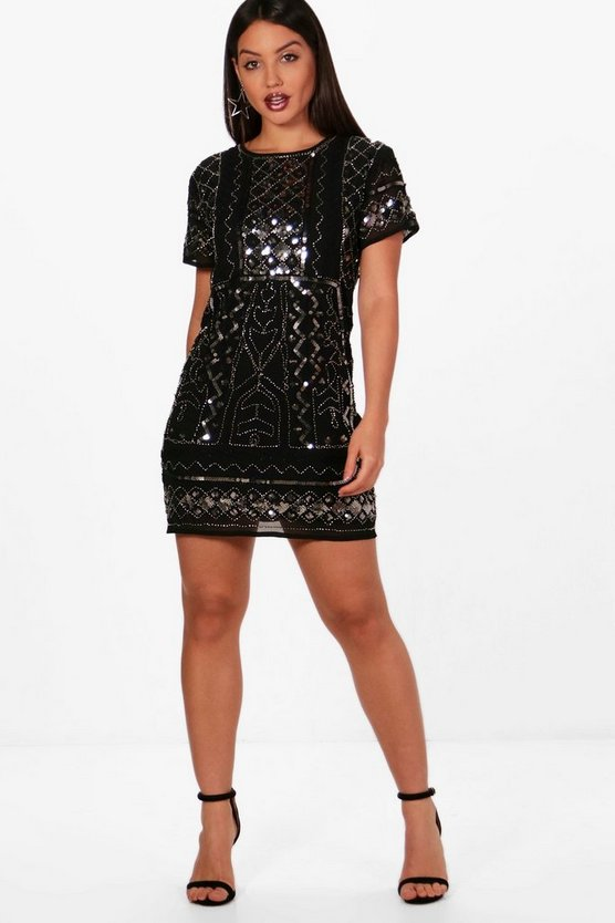 Boutique Jodie Embellished Cap Sleeve Shift Dress