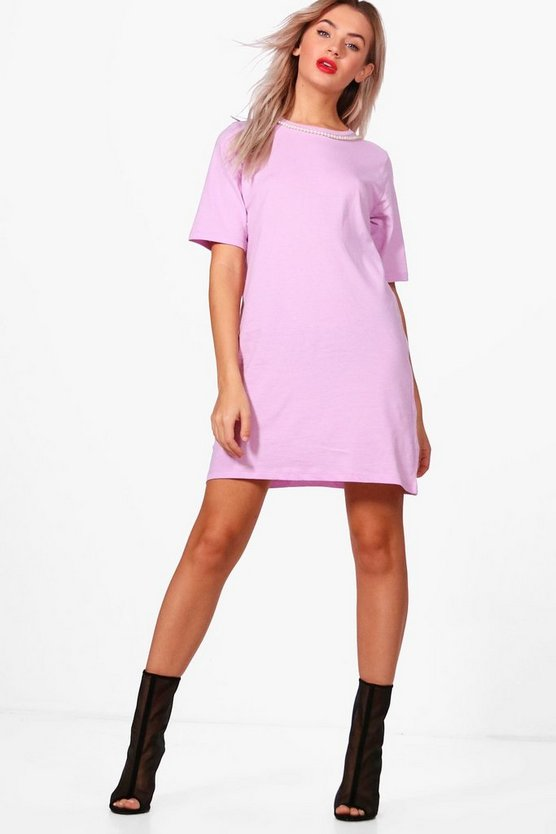 Womens Pearl Choker Oversized T-Shirt Dress