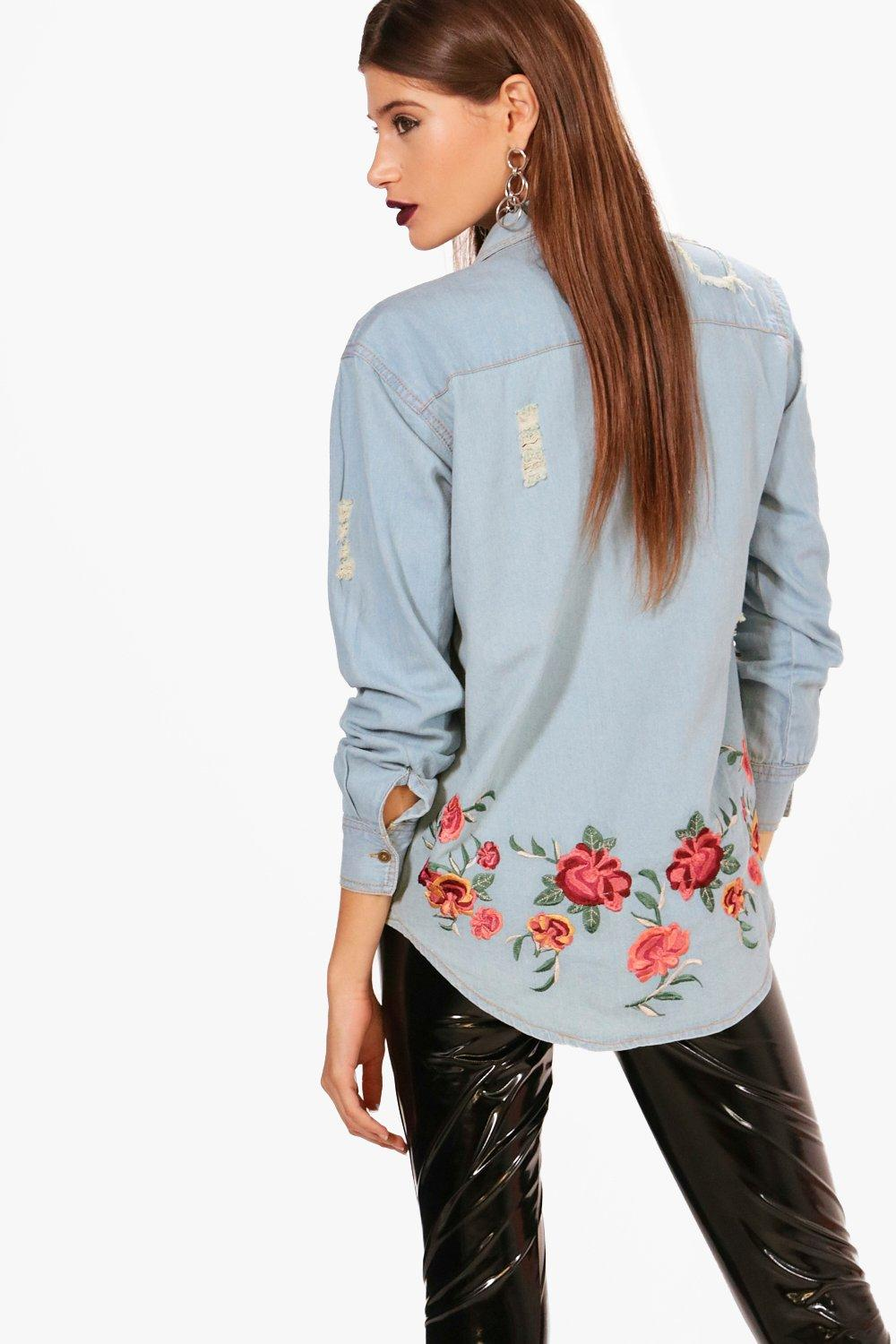 Denim Embroidered Back Shirt Back blue Embroidered fdtwqYtx