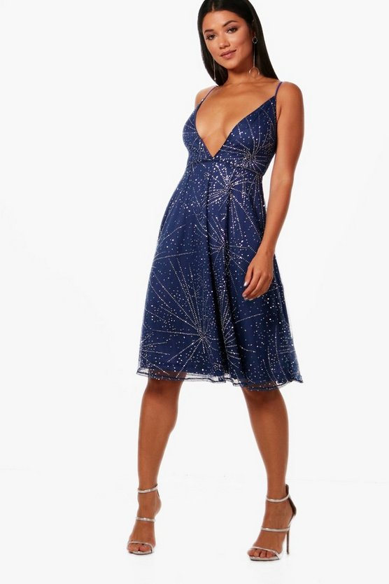 Boutique Star Gazer Midi Skater Dress