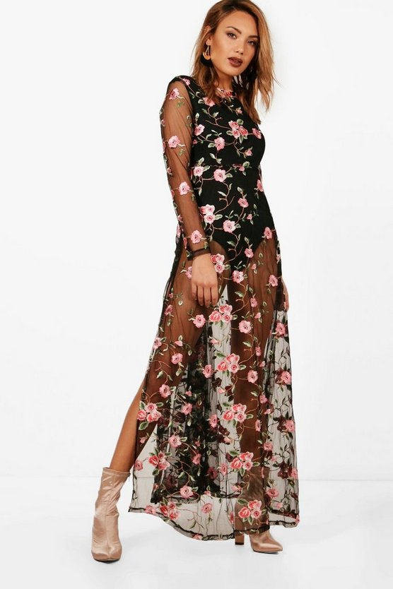 Embroidered Mesh Long Sleeve Maxi Dress
