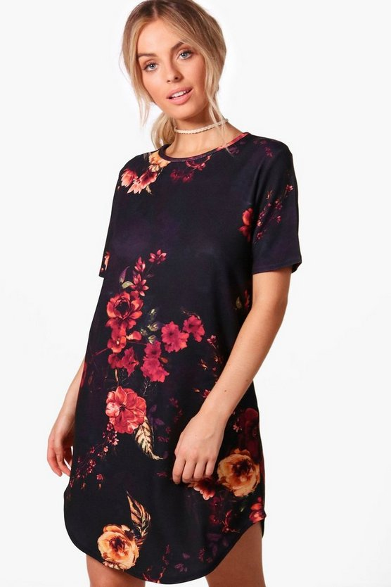 Danielle Floral Short Sleeve Shift Dress