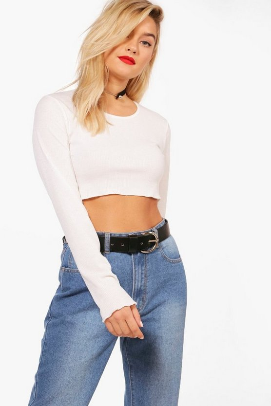 Sara Basic Rib Long Sleeve Crop