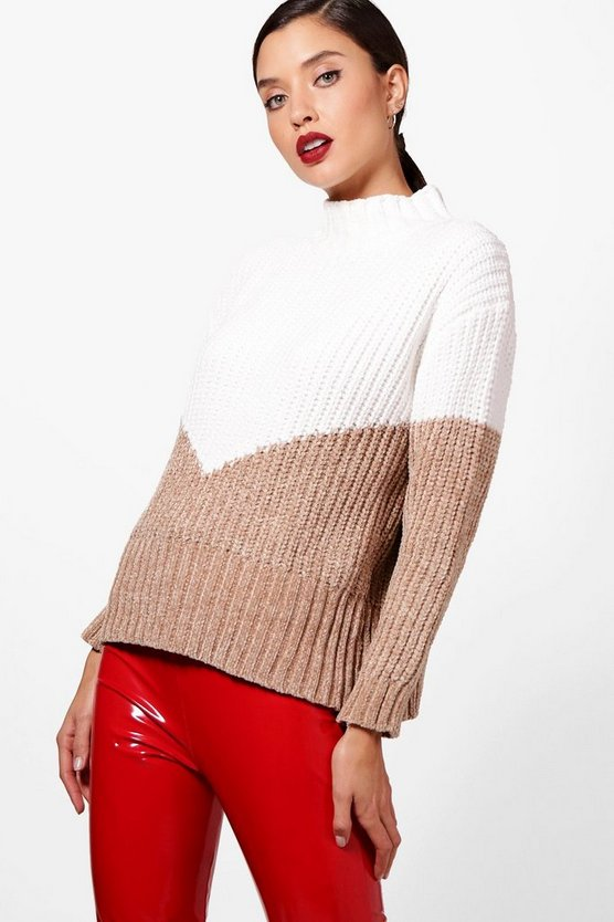 Phoebe Funnel Neck Chevron Chenille Jumper