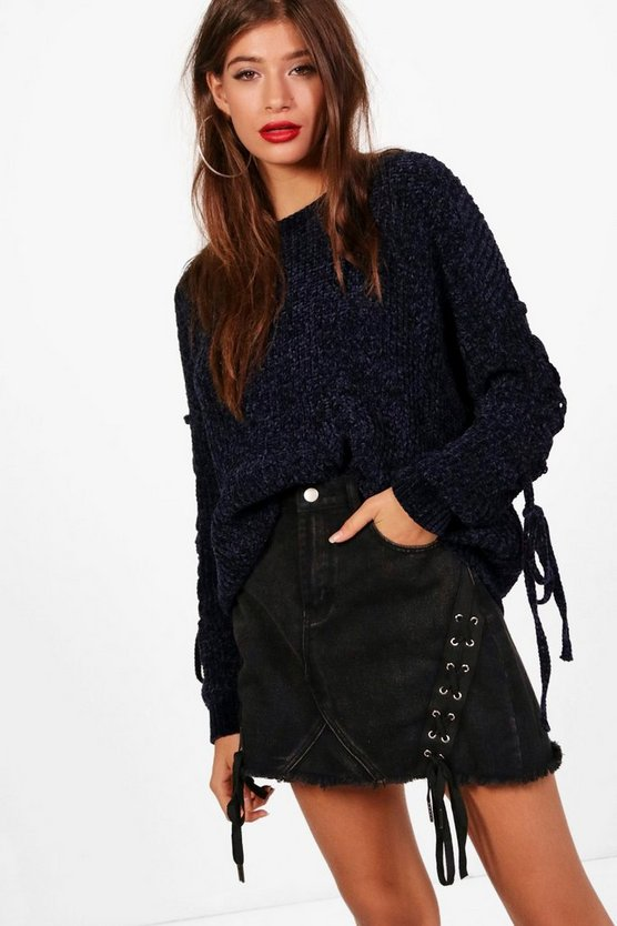 Millie Lace Up Sleeve Chenille Jumper