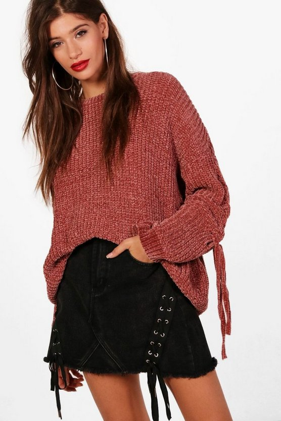 Millie Lace Up Sleeve Chenille Jumper, Rose, MUJER