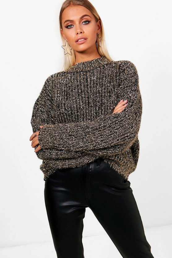 Womens Gold Tinsel Metallic Knit Jumper
