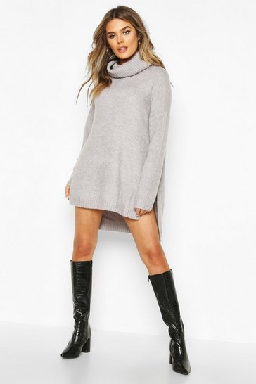 Womens Silver Premium Roll Neck Oversized Jumper