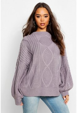 Charcoal Oversized Cable Jumper