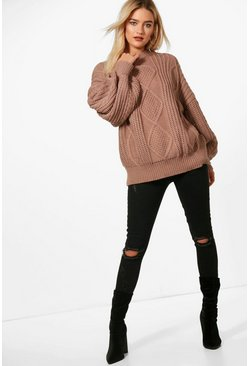 Mocha Oversized Cable Sweater