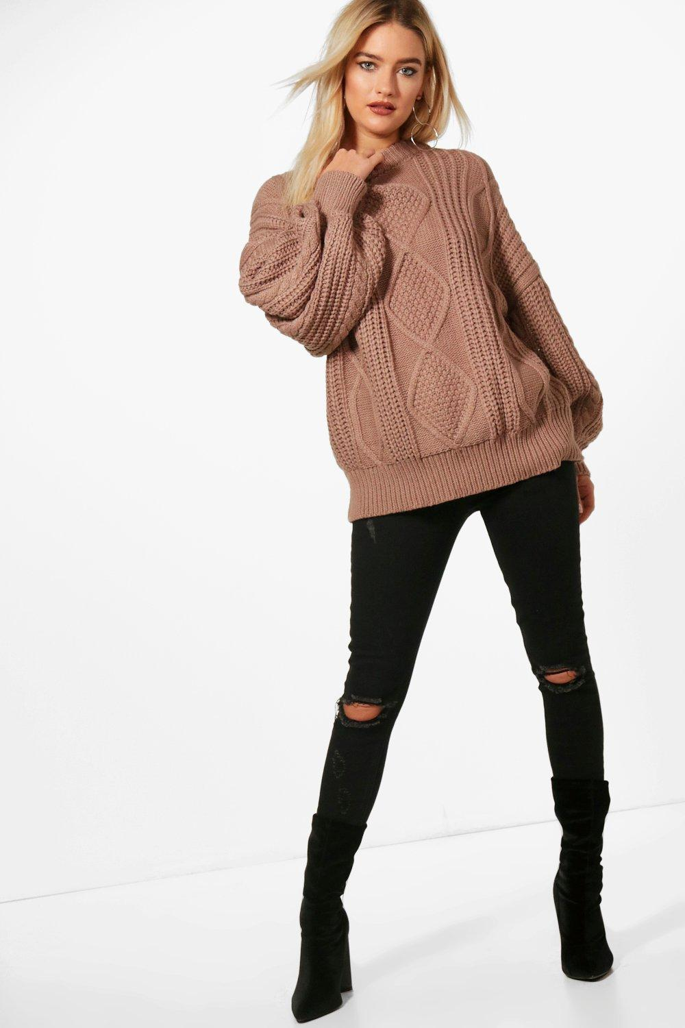 Jumper mocha Oversized Oversized Cable Cable Jumper Jumper Oversized Cable mocha wqYXAxEzxt