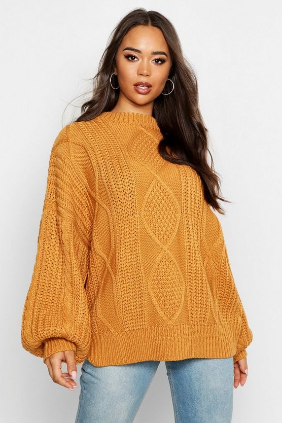 Ochre Oversized Cable Jumper