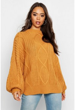 Womens Ochre Oversized Cable Jumper