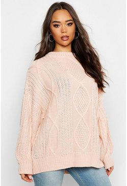Womens Stone Oversized Cable Jumper