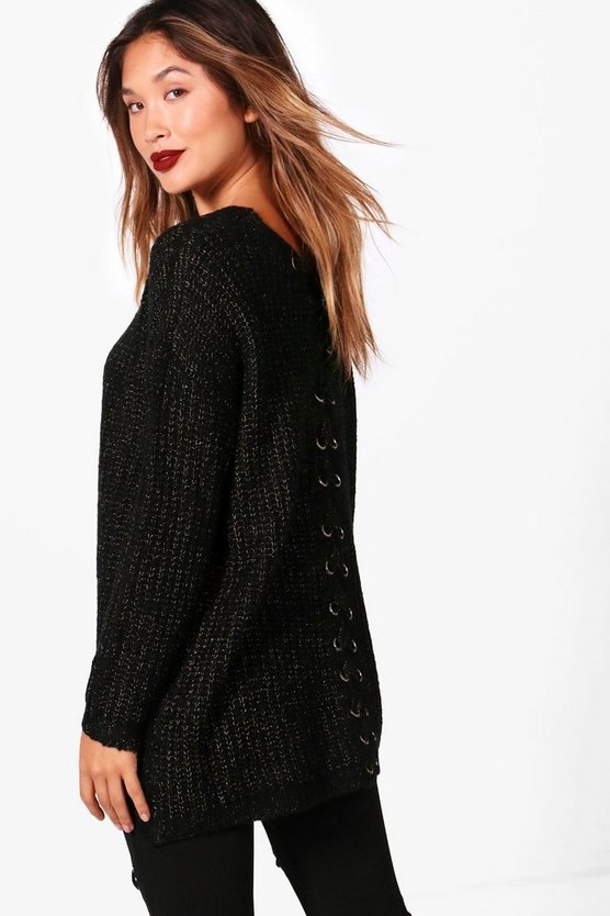 Karina Lace Up Back Metallic Jumper