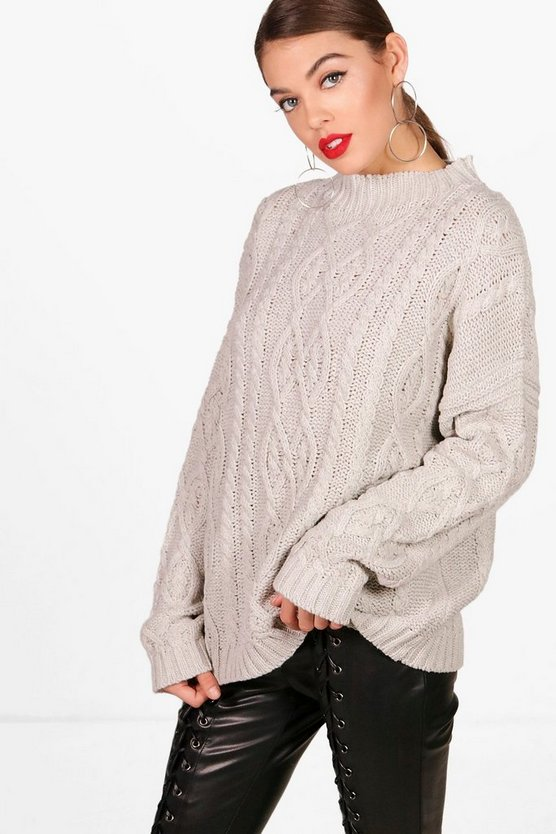 Oversized Funnel Neck Crop Cable Jumper