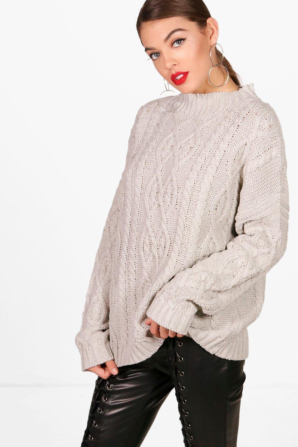 2d895fbb5b Oversized Funnel Neck Crop Cable Jumper. Hover to zoom
