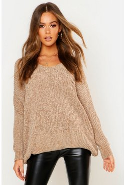 Womens Camel Oversized Slouchy V-Neck Chenille Sweater