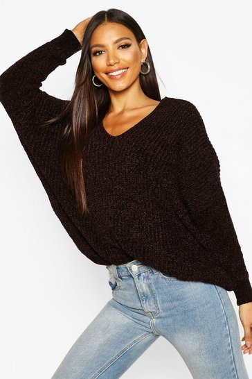 Womens Chocolate Oversized Slouchy V-Neck Chenille Jumper