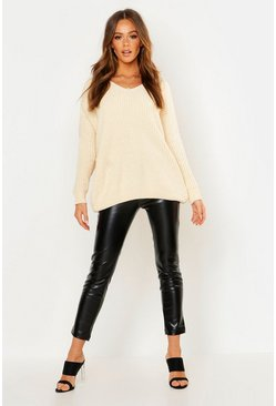 Cream Oversized Slouchy V-Neck Chenille Sweater