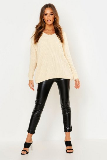 Cream Oversized Slouchy V-Neck Chenille Jumper