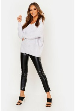 Silver Oversized Slouchy V-Neck Chenille Sweater