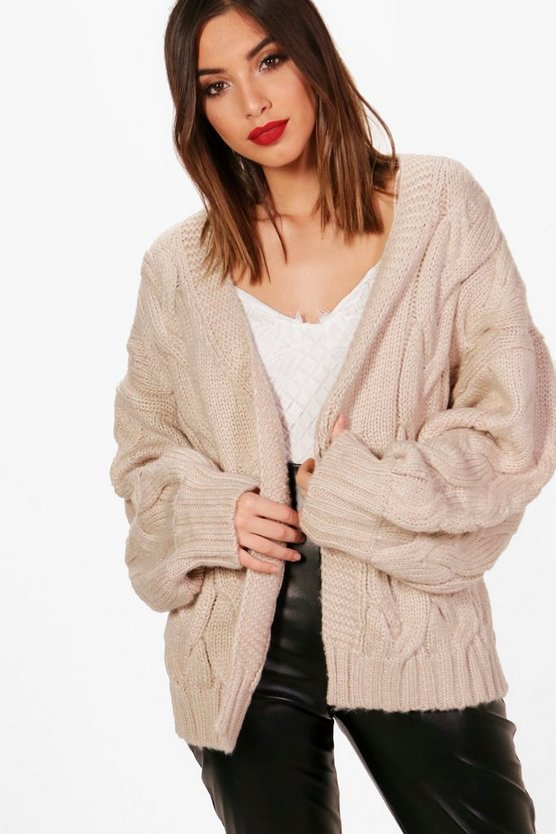Lucy Cable Crop Soft Knit Cardigan