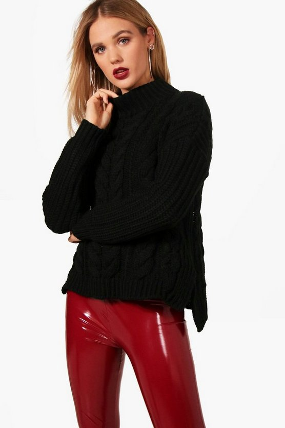 Erin Funnel Neck Cable Knit Jumper