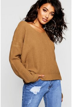 Womens Camel Crop Twist Jumper