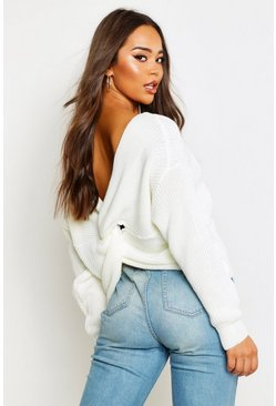 Womens Cream Crop Twist Jumper