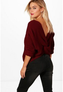 Womens Crimson Crop Twist Sweater