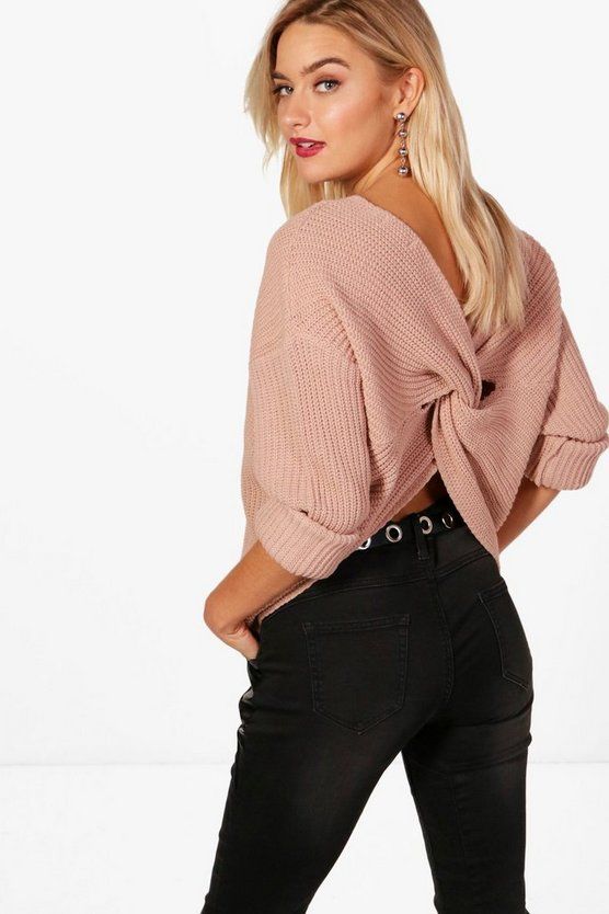 Womens Nude Crop Twist Sweater