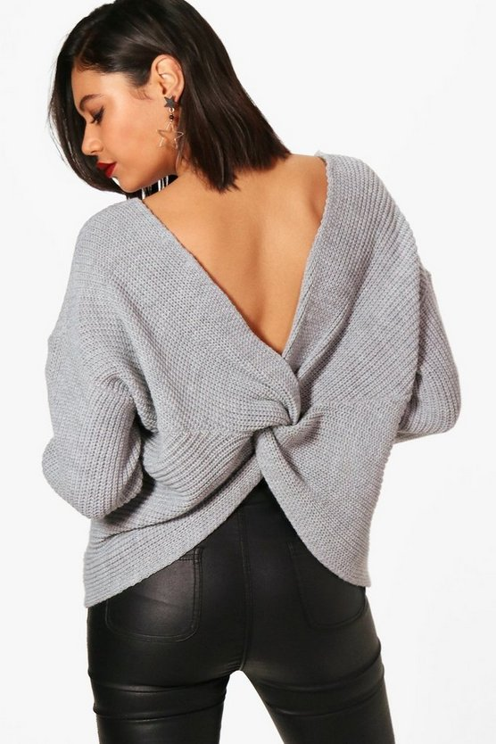 Womens Silver Crop Twist Jumper