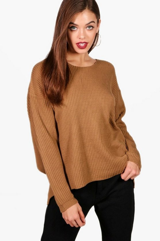 Womens Camel Twist Back Jumper