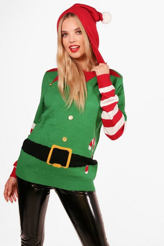 Pom Pom Hooded Elf Christmas Jumper